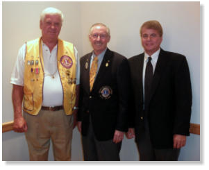 David Hatcher of the York Lions Club & Steve Springer of the Livingston Lions Club with Ron Mitchell (center).